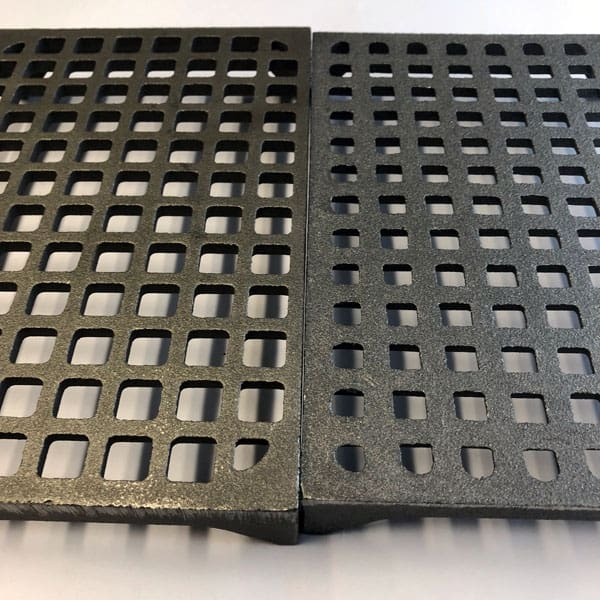 GRID6 and MAX6 cast iron air bricks showing difference in hole size