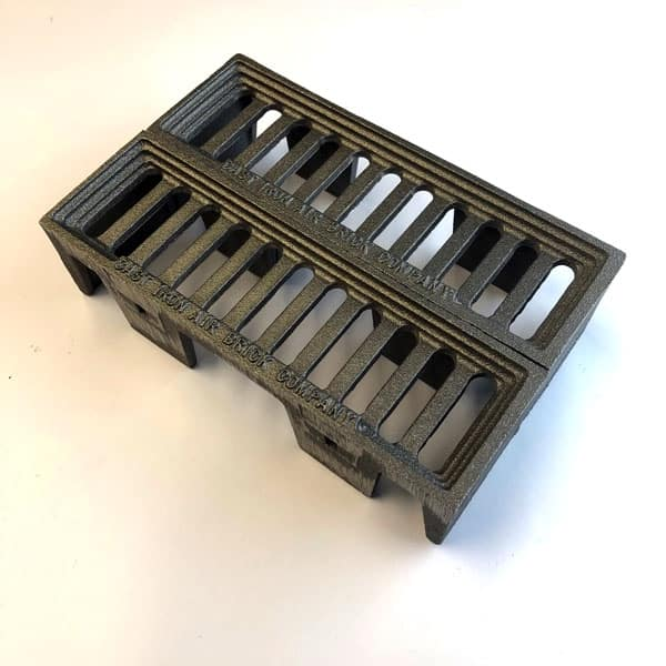 WIN6 - cast iron interlocking double size Windsor metric air bricks in bare metal