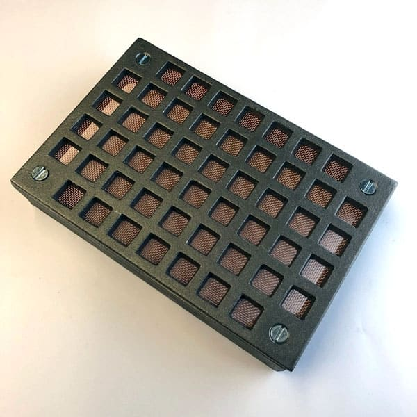 FLY6 Cast iron Flyscreen Air Brick 9x6 inch - bare metal front with frame 4 screws and removable copper flyscreen