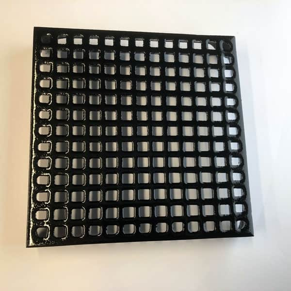GRID9 - grid pattern 9x9 cast iron air brick painted black