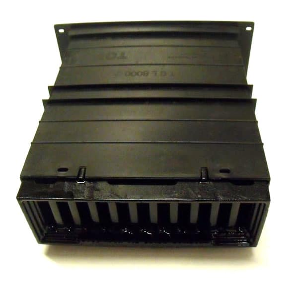 CAV3 single painted blackl Cast iron metric Windsor air brick complete with single plastic duct telescopic wall sleeve