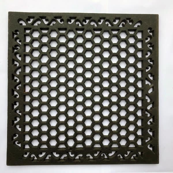 HER18 Heritage Cast Iron Grille 18x18 inch available with optional drilling in the corners and or copper flymesh