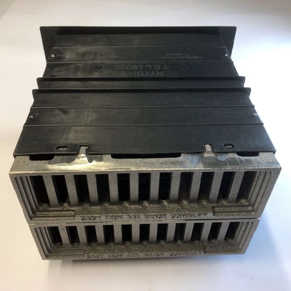 CAV6 double bare metal Cast iron metric Windsor air bricks complete with double size plastic duct telescopic wall sleeve