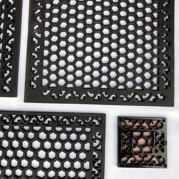 Cast Iron Heritage Vent and Drain Grilles - Ranging from 6x6 to 20x20 inch