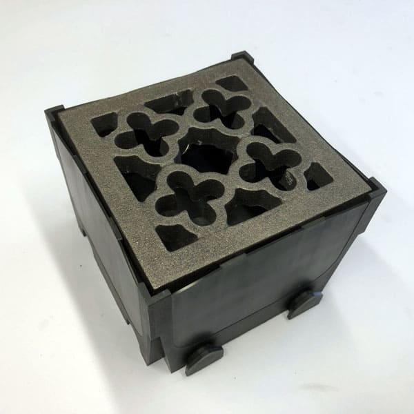 Quatrefoil Junction Box with bare metal grating