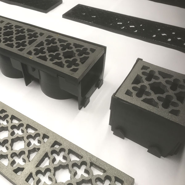 quatrefoil cast iron channel gratings with and without channel