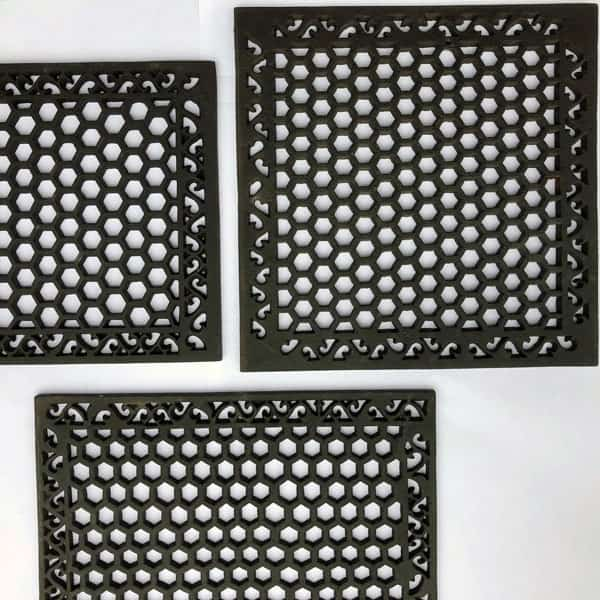 Cast Iron Large Heritage Grilles available in 15,18 and 20 inch HER15 HER18 and HER20 - drilling and or mesh optional