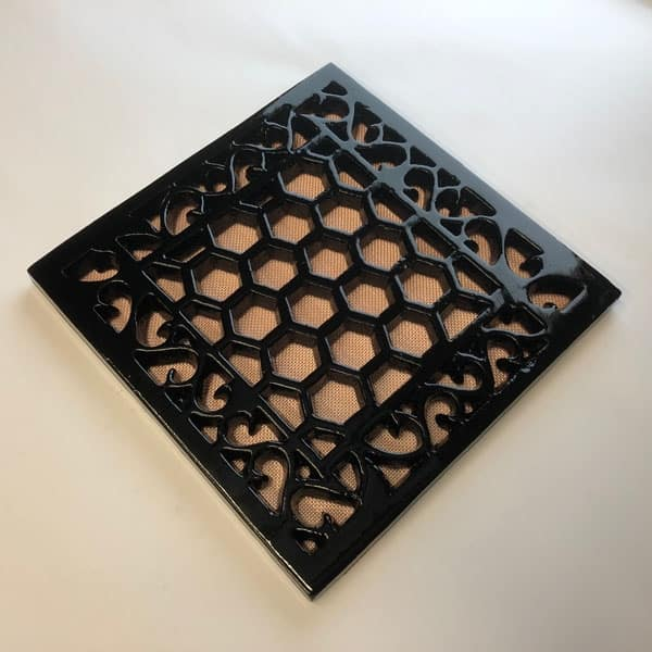 Cast Iron 9X9 inch Heritage Vent and Drain Grilles - HER9 - unDrilled with Mesh