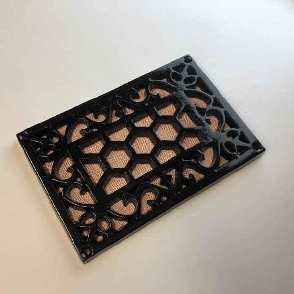 Cast Iron 9x6 inch Heritage Vent and Drain Grilles - HER96 drilled with mesh