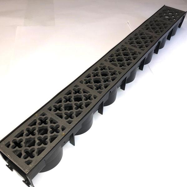 Item Q1000 - 995mm quatrefoil cast iron channel gratings bare metal with channel