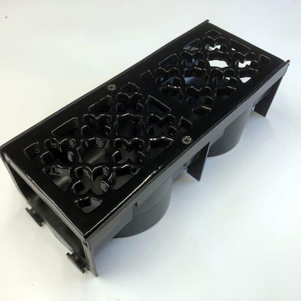 Item Q300 - 289mm quatrefoil cast iron channel gratings painted black with channel