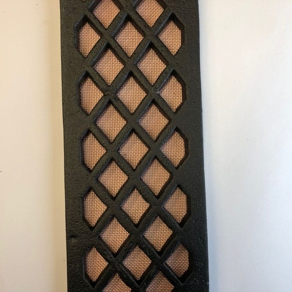 Copper flyscreen mesh used with Cast Iron Doorstep Lattice Gratings 4 inch wide and 36 inch lengths