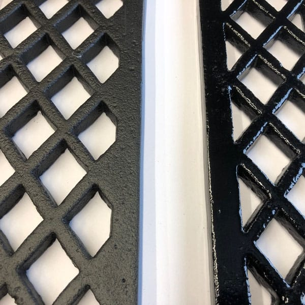 Lattice gratings paint comparison - left is semi finished with primer, right is completed with two part epoxy top coat gloss.