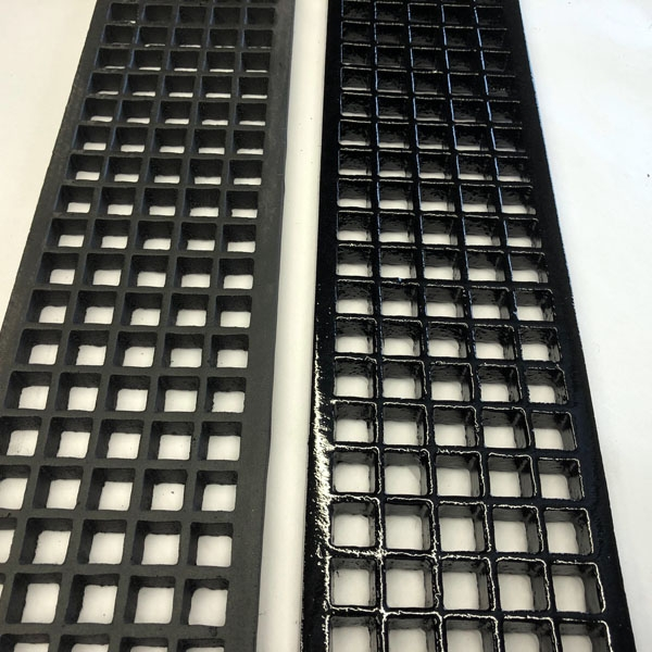 Cast iron square hole gratings comparing primed black and gloss black finish